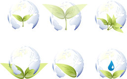 World globe with leaf Stock Images
