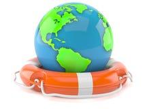 World globe with life buoy Royalty Free Stock Photos