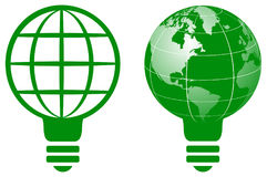 World globe light bulb logo Royalty Free Stock Photo