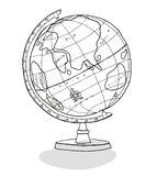 World Globe line art illustration Stock Image