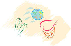 World globe love basket Royalty Free Stock Image
