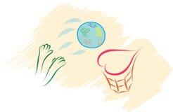 World globe love basket Royalty Free Stock Image