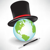 World globe with magic hat Stock Photo