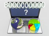 World globe, map and 3d pie chart on a laptop Stock Photography