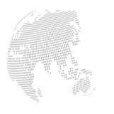 World globe map: square - puzzle. Square regular puzzle globe curved map, accurate, (grid 200x150 squares). For business card, postcard, call card Stock Photography