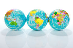 World Globe Maps. Ball isolated on white royalty free stock photo