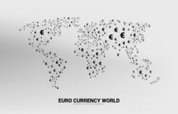 World Globe with money euro currency icon polygon dot connected line. Concept for financial network connection in euro zone stock illustration