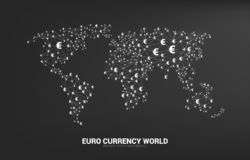 World Globe with money euro currency icon polygon dot connected line. Concept for financial network connection in euro zone vector illustration