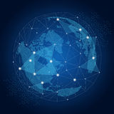 World globe with network global connections concept. On dark blue background. Vector illustration Royalty Free Stock Photos