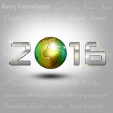 World Globe New Year 2016. A golden globe with shiny silver number 2016 on a light grey background with New Year greetings in different languages vector illustration