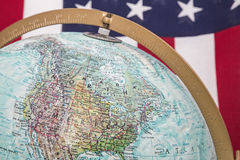 World globe North America USA flag background Stock Photos