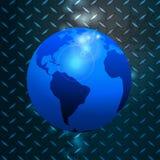 World globe over metallic diamond plate Royalty Free Stock Photos