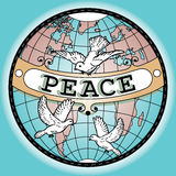World Globe Peace Banner Map with Doves Royalty Free Stock Images