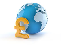World globe with pound currency symbol Stock Photos