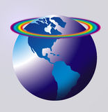 World globe rainbow. Map or globe with coloured land area and a pale background colour showing the American, USA sections on the globe with a rainbow around the Royalty Free Stock Photography