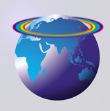 World globe rainbow. Map or globe with coloured land area and a pale background colour showing the Africa Europe Asia and Australia sections on the globe with a Royalty Free Stock Images