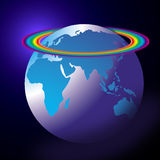 World Globe Rainbow. Map or globe with coloured land area and a graded background colour showing the Africa Europe Asia and Australia sections on the globe with Stock Image