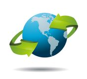 World globe with recycle signs Stock Images