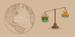 World globe on a scale with gold dollar coins royalty free illustration