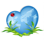 world globe in the shape of  heart symbol. Stock Photo