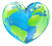 Heart world globe concept. A world globe in the shape of a heart symbol. Concept for loving travel, or loving the world and caring for the environment or similar Royalty Free Stock Image