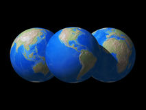 World Globe space view. 3D rendered of world globe - different view royalty free illustration