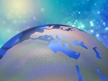 World globe and starry space Royalty Free Stock Image