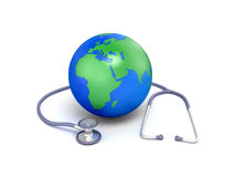 World globe and stethoscope. Conceptual 3d illustration of world globe showing continent of Africa with stethoscope; isolated on white background Royalty Free Stock Photos