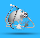 World globe and stethoscope use for healthy care topic Royalty Free Stock Photos