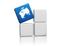 World globe symbol in blue cube on boxes. World globe sign - 3d blue cube with white symbol on grey boxes, global connection concept Stock Image