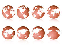 World Globe views. 8 different 3D world globe views [different color versions available Stock Images
