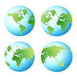 World globe views. 4 different 3D world globe views Stock Photo