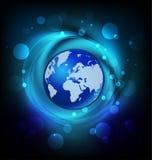 World globe vivid blue logo. World globe vector design internet concept vector logo template background Stock Image
