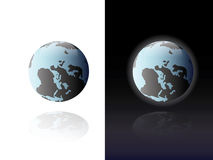 World globe on white and black. Illustration of world globes with African and European continents on white and black backgrounds Stock Image