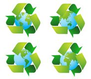 World Globe With Recycle Signs Royalty Free Stock Image