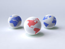 World globes. 3d generated picture Royalty Free Stock Photo