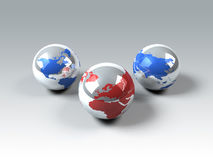 World globes. 3d generated picture Stock Image