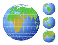 World Globes. World globe icons, each showing a different continent Stock Photography