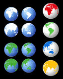 World Globes. World globe icons of different colors showing all continents Royalty Free Stock Photos