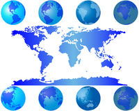 World globes. Set of worls globes for design use Stock Photos