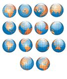 World Globes Collection. A hi-res complete world globe collections, blue ocean and white surrounded image Vector Illustration