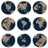 World globes with continents made of world flags Stock Image