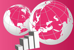 World Globes and Graphic Chart. Background of world globes and a graphic chart stock illustration