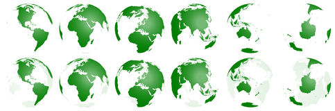 World Globes Transparent Collection. World Globes Collection 3d generated stock illustration