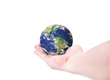 World globeSouth and North America on woman hand isolated on w. Hite background,Elements of this image furnished by NASA stock images