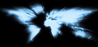 World glow. Blue world map wih rays and glow style Royalty Free Stock Photos