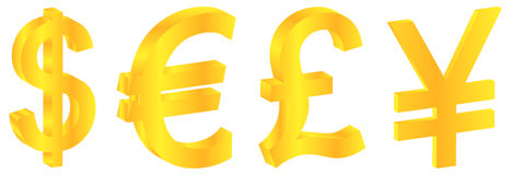 World Gold Currencies Stock Images