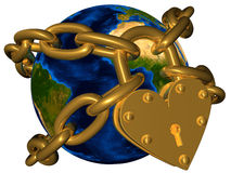 World in golden chain and golden lock Stock Image