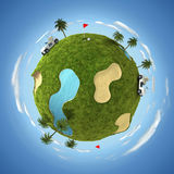 World of golf. 3D illustration with round golf terrain and golf equipment Royalty Free Stock Image