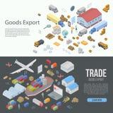 World goods export banner set, isometric style royalty free illustration